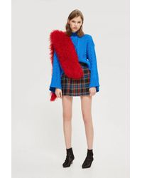TOPSHOP - Blue Cable Knit Roll Neck Jumper - Lyst