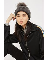 TOPSHOP | Gray Tip Faux Fur Pom Beanie Hat | Lyst