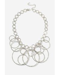 TOPSHOP - Metallic Circle Link Hammered Metal Necklace - Lyst