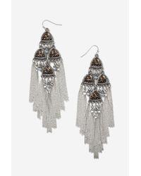 TOPSHOP | Metallic Beaded Chandelier Earrings | Lyst
