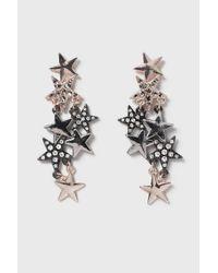 TOPSHOP - Brown Rhinestone Star Trail Earrings - Lyst