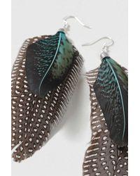 TOPSHOP - Green Festival Feather Drop Earrings - Lyst