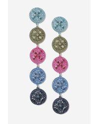 TOPSHOP - Multicolor Fili Rhinestone Circle Drops Earrings - Lyst