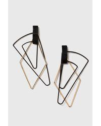 TOPSHOP - Black Fine Layered Shape Drop Earrings - Lyst