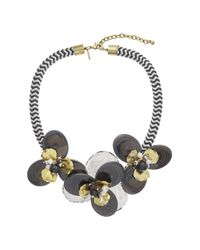 TOPSHOP - Black Flower And Facet Collar - Lyst