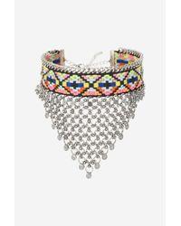 TOPSHOP - Metallic Statement Aztec Chain Choker Necklace - Lyst