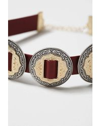 TOPSHOP - Brown Engraved Coin Choker - Lyst