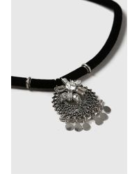 TOPSHOP - Black Disc Drop Choker - Lyst