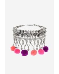 TOPSHOP - Multicolor Chain Tassel Choker Necklace - Lyst
