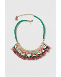 TOPSHOP | Green Festival Tassel And Shell Neckalce | Lyst