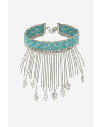 TOPSHOP - Blue Turquoise Leaf Drop Choker Necklace - Lyst