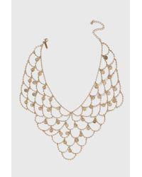 TOPSHOP | Metallic Fine Coin Drop Disk Collar Necklace | Lyst