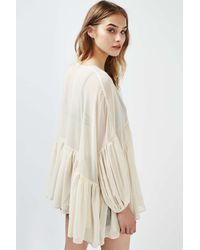 TOPSHOP - Natural Oversized Frill Blouse By Rare - Lyst
