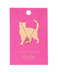 Orelia - Metallic Lucky Cat Ditsy Necklace By - Lyst