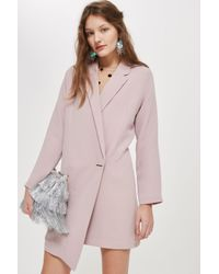 TOPSHOP - Pink Asymmetric Hem Blazer Dress - Lyst