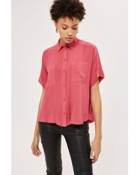 TOPSHOP - Pink Short Sleeved Shirt - Lyst