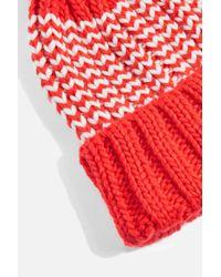 TOPSHOP - Red Pom Intarsia Beanie - Lyst