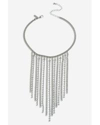 TOPSHOP - White Rhinestone Drape Collar - Lyst