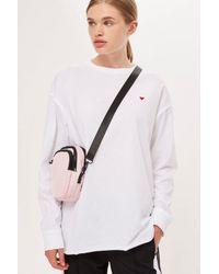 TOPSHOP - White Long Sleeve Tunic T-shirt - Lyst