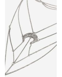 TOPSHOP - Metallic Horn And Stone Laddered Necklace - Lyst
