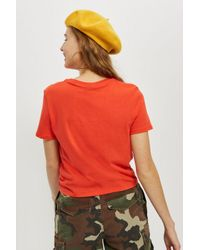TOPSHOP - Red Tall Crop Top - Lyst