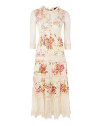 TOPSHOP - White Floral Print Maxi Dress - Lyst
