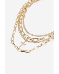 TOPSHOP - Metallic charm Multirow Necklace - Lyst