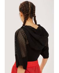 TOPSHOP - Black Mesh Logo Hooded Bodysuit By Ivy Park - Lyst