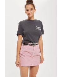 TOPSHOP - Moto Pink Cord Mini Skirt - Lyst
