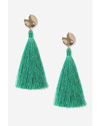 TOPSHOP - Green Stud Tassel Drop Earrings - Lyst