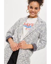 TOPSHOP - Blue Brushed Back Jersey Coat - Lyst