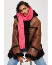 TOPSHOP - Pink Cable Knitted Scarf - Lyst