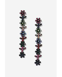 TOPSHOP - Black Floral Stone Drop Earrings - Lyst