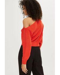 TOPSHOP Orange Cashmere Off Shoulder Cropped Jumper