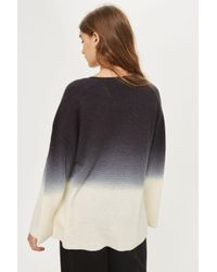 TOPSHOP | Black Dip Dye Wide Sleeve Jumper | Lyst