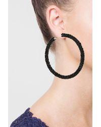 TOPSHOP - Black Facet Hoop Earrings - Lyst