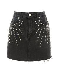 TOPSHOP - Black Moto Studded Denim Mini Skirt - Lyst