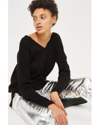 TOPSHOP | Black Knitted Pointelle Sweater | Lyst