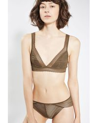 TOPSHOP - Natural Crochet Lace Brazilian Knickers - Lyst
