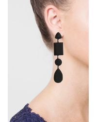 TOPSHOP - Black Matte Facet Shape Drop Earrings - Lyst