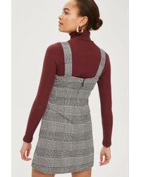 TOPSHOP - Black Petite Gingham Pinafore Dress - Lyst