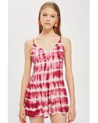 2ccf5436277 Lyst - Topshop Tie Dye Playsuit in Pink