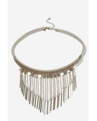 TOPSHOP - Metallic Chain Drop Collar Necklace - Lyst