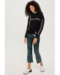 TOPSHOP - Black Petite Lace-up Sweatshirt - Lyst