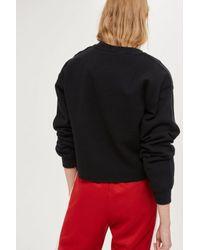 TOPSHOP - Black 'merci' Cropped Sweatshirt - Lyst
