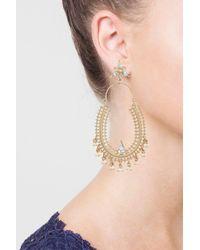 TOPSHOP - Multicolor Pearl And Rhinestone Decorated Hoop Earrings - Lyst
