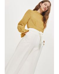 TOPSHOP - White Bonded Cropped Wide Pants - Lyst