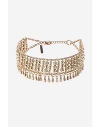 TOPSHOP - Metallic Bead And Drop Choker Necklace - Lyst