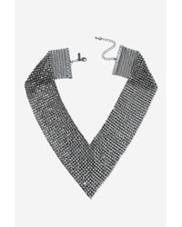 TOPSHOP - Brown Chainmail V Collar - Lyst
