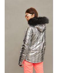 TOPSHOP - Metallic Silver Ski Puffer Jacket - Lyst